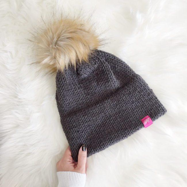 Grey Knit Pom Beanie